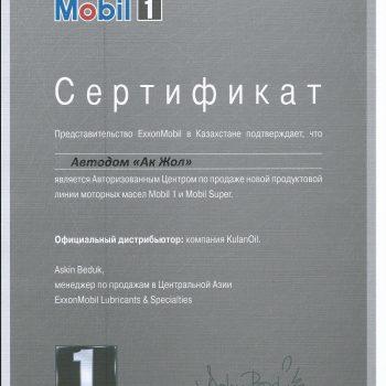2022 сертификат MOBIL